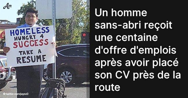 Un homme sans-abri reçoit une centaine d'offre d'emplois après avoir placé son CV près de la route