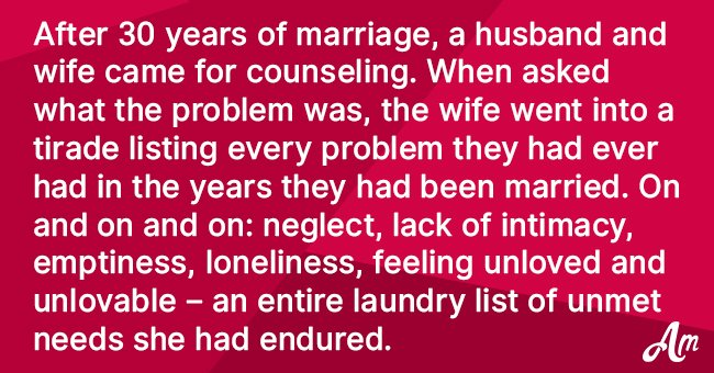 Joke: Couple Go to Counseling after 30 Years of Marriage