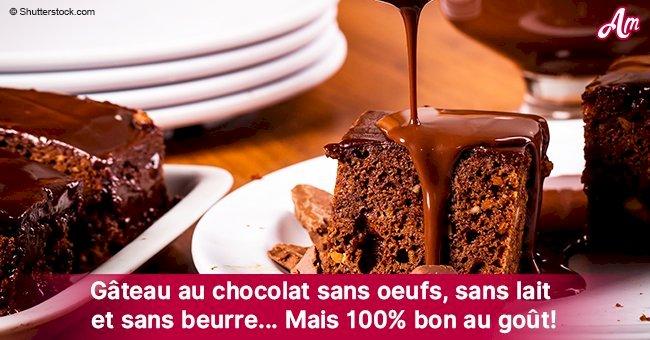 Une incroyable recette d'un gâteau au chocolat sans oeufs, sans lait et sans beurre