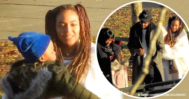 Beyonce cuddles twins in recent pics while enjoying Christmas in NY park with Jay-Z and Blue Ivy