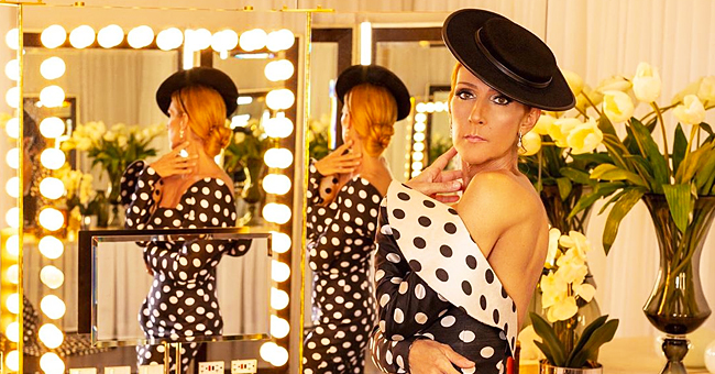 Celine Dion magnifique dans une robe à pois rétro qui dévoile ses épaules nues