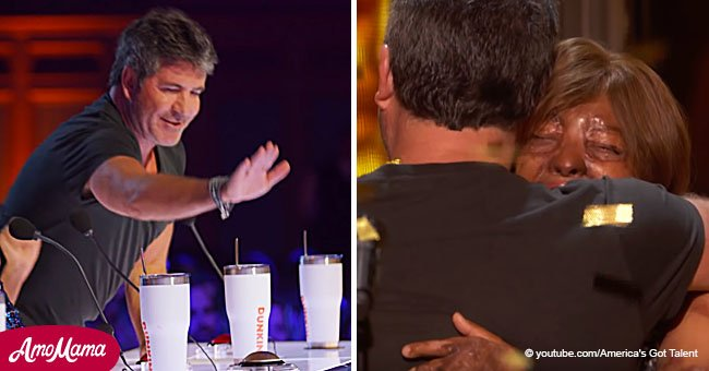 Plane crash victim breaks down in tears after Simon Cowell praised her with a rare Golden Buzzer
