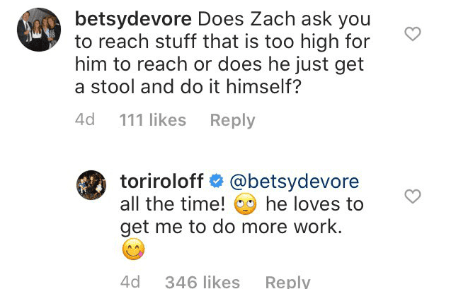 Tori Roloff's response to one of the questions from her followers on Instagram | Source: Instagram/@toriroloff