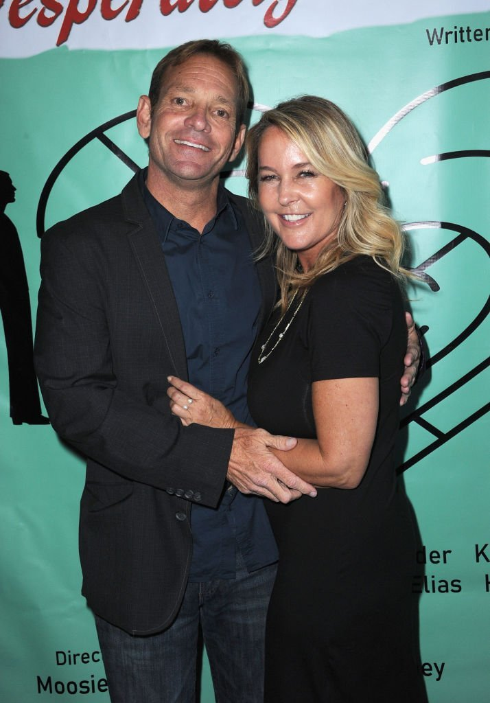 """Moosie Drier and actress Erin Murphy pose at """"Desperately Seeking Love"""" - Los Angeles Opening Night held at The Whitefire Theatre on June 29, 2018. 