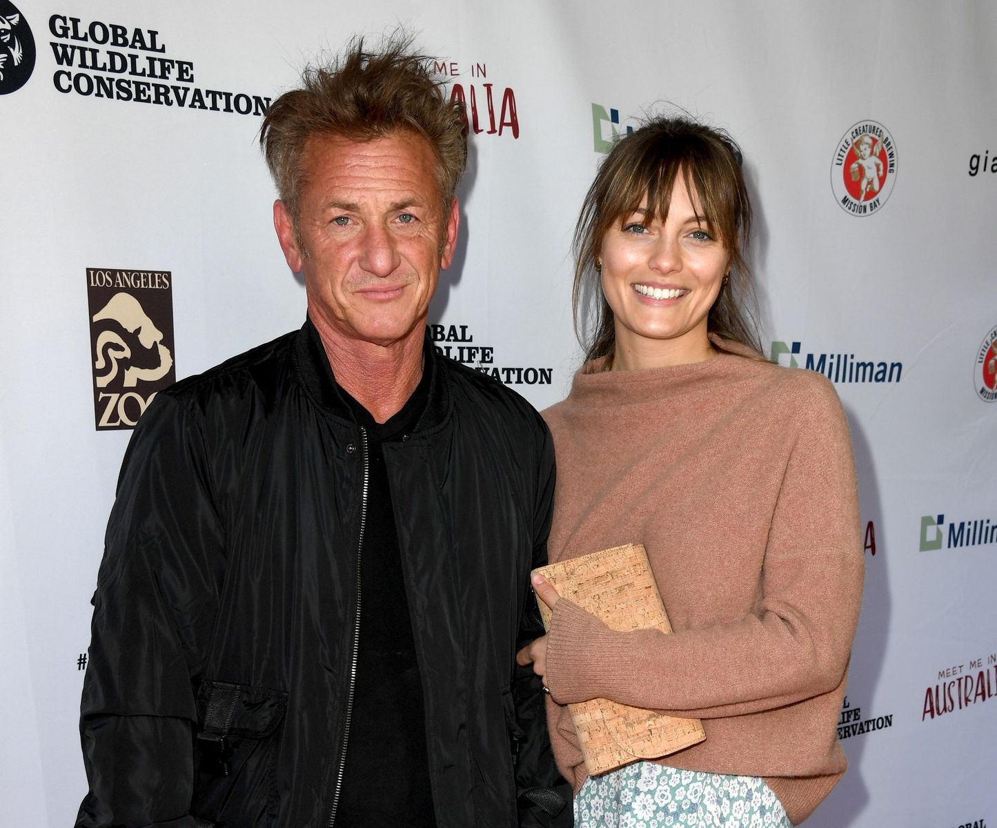 """Sean Penn and Leila Georgeat the """"Meet Me In Australia"""" event benefiting Australia Wildfire Relief Efforts at Los Angeles Zoo on March 08, 2020, in California 