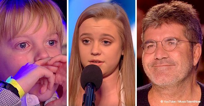 Little brother can't stop crying after his sister's powerful audition on talent show