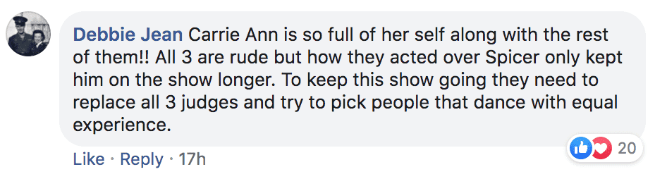 Fan writes angry post about Carrie Anna Inaba's messages to Sean Spicer after his elimination | Source: facebook.com/popculturedotcom/posts