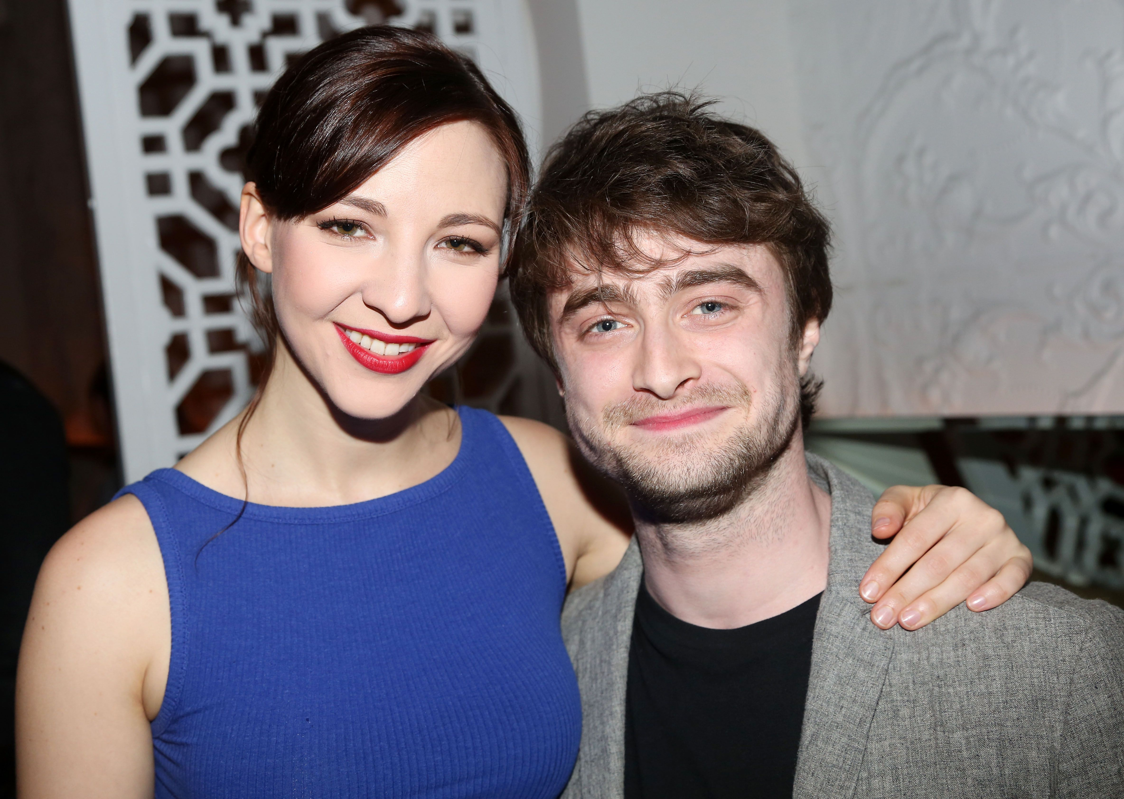 """Daniel Radcliffe and Erin Darke on the opening night of the play """"The Spoils"""" in 2015 in New York City 