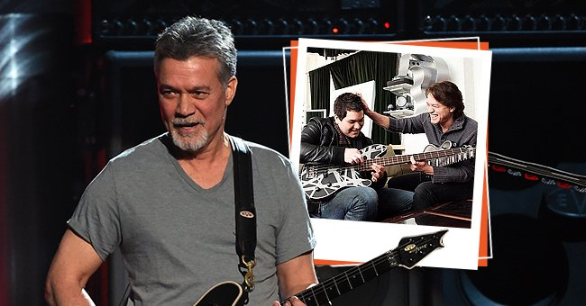 Musician Eddie Van Halen onstage during the 2015 Billboard Music Awards at MGM Grand Garden Arena on May 17, 2015 in Las Vegas, Nevada, the next photo shows him and his son Wolfgang having a moment | Photo: Getty Images