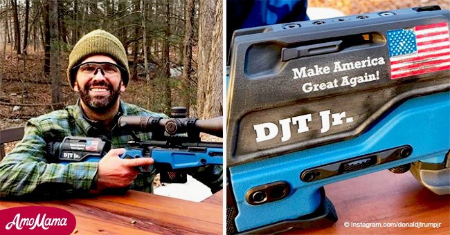 Don. Trump Jr. brags with his custom 'Make America Great Again' rifle, shows off his winter beard