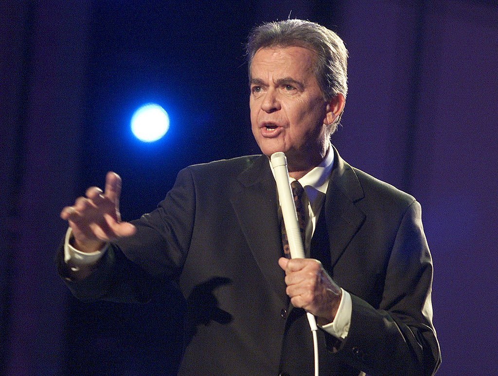 "Dick Clark at the ""American Bandstand's 50th... A Celebration"" taping in Pasadena, California on April 21, 2002 