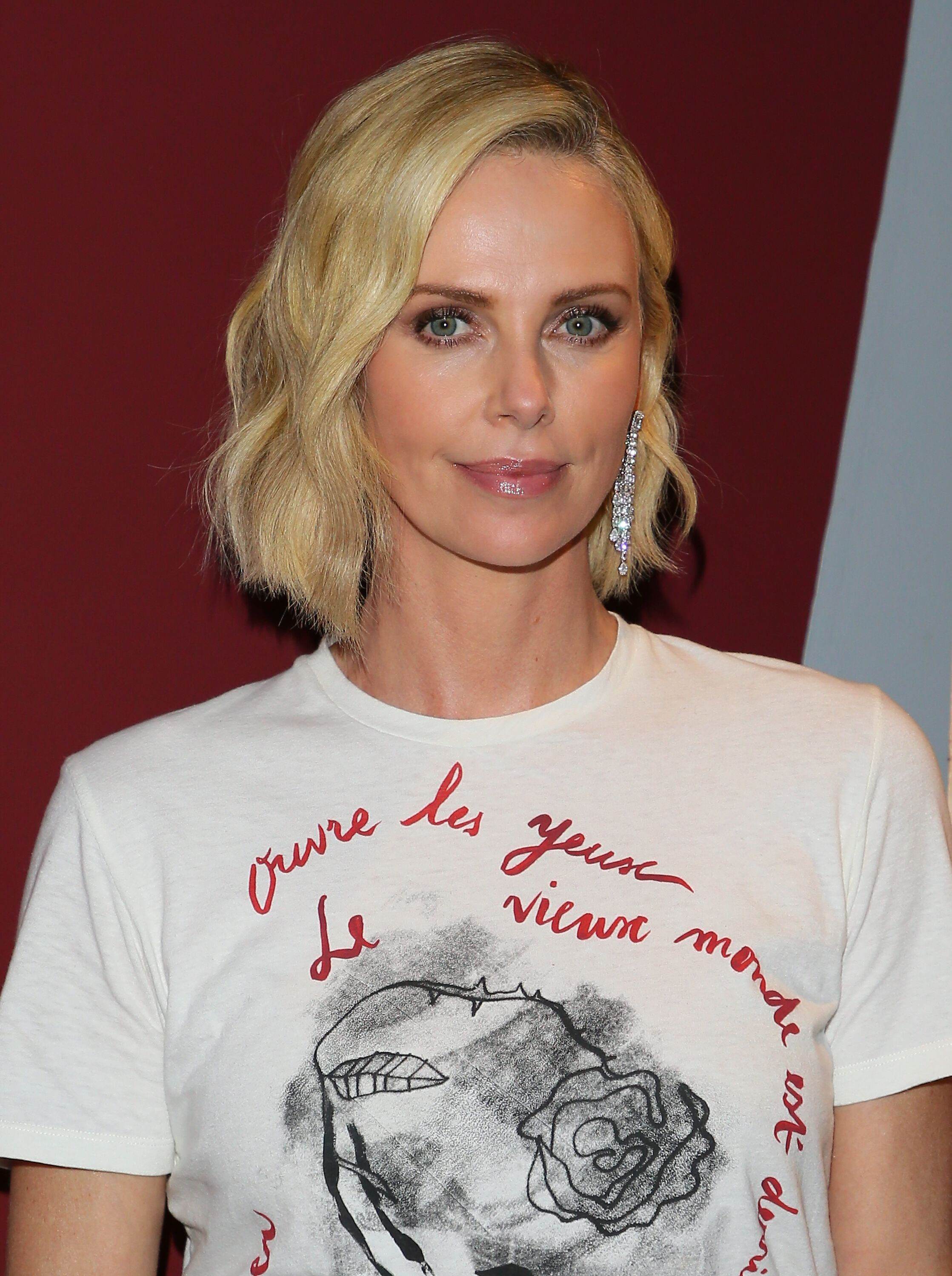 """Charlize Theron poses during the double feature of """"Tully"""" and """"Monster."""" 