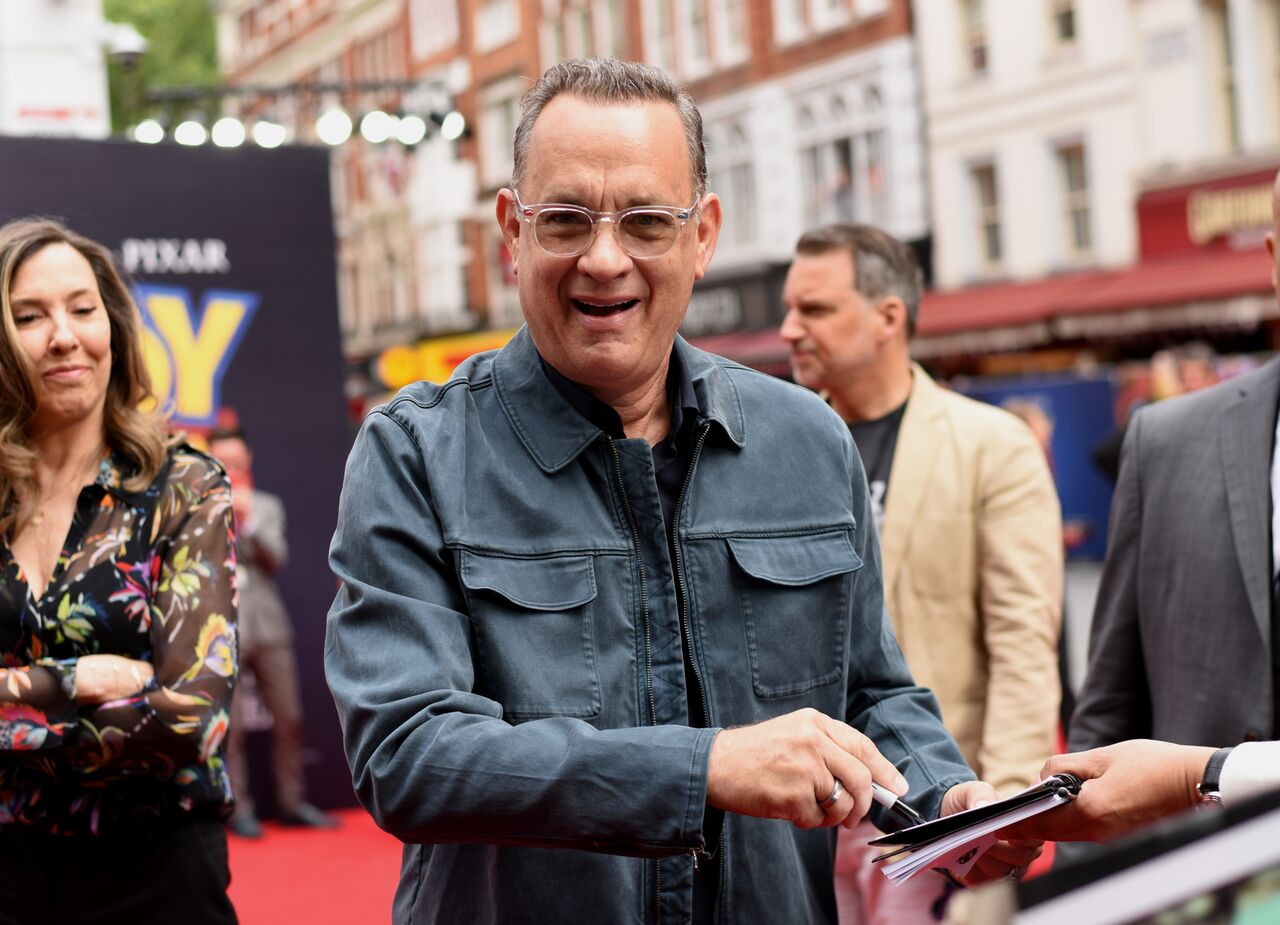 "Tom Hanks attends the European premiere of Disney and Pixar's ""Toy Story 4."" 