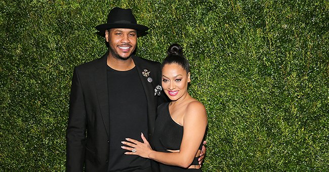 Carmelo Anthony's Wife La La Looks Shorter than Their 14-Year-Old Son Posing with Him at Fashion Show