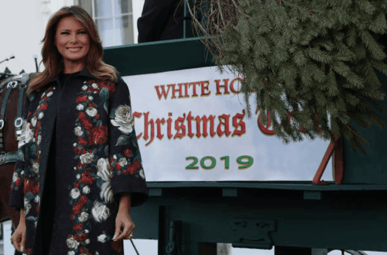 Melania Trump waits by a horse and carriage as she receives the 2019 White House Christmas Tree at the North Portico of the White House, on November 25, 2019, in Washington, DC | Source: Alex Wong/Getty Images