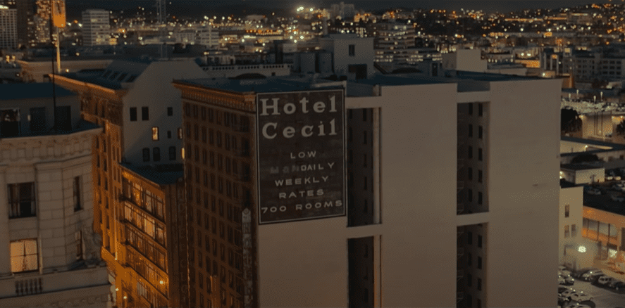 The Cecil Hotel that provides a nightmarish backdrop for the disappearance of Elisa Lam.   Photo: YouTube/Netflix