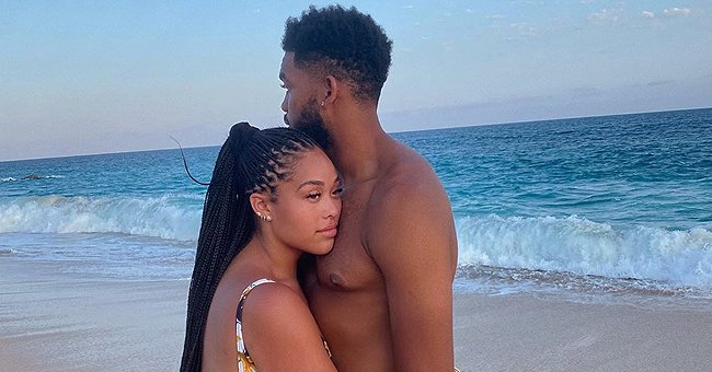 Jordyn Woods Poses on the Beach in Matching Swimsuits with New Boyfriend Karl-Anthony Towns