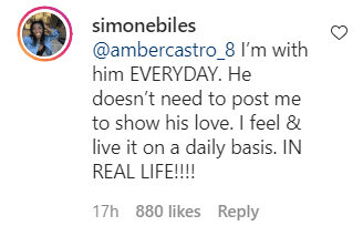 Simone Biles's reply to a comment made on a post on her Instagram page | Photo: instagram.com/simonebiles/