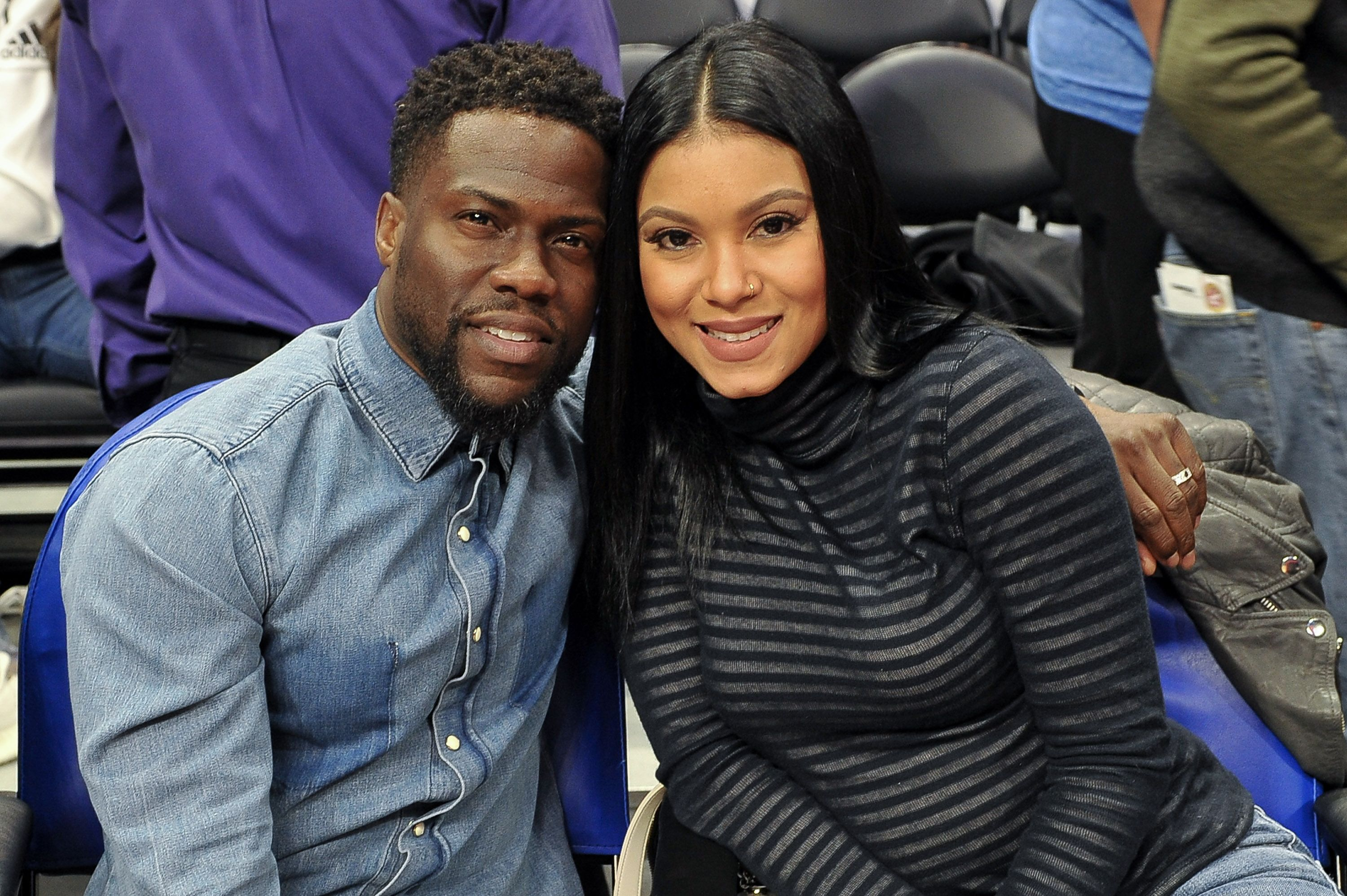 Actor Kevin Hart and Eniko Parrish at a basketball game between the Los Angeles Clippers and the Minnesota Timberwolves at Staples Center in Los Angeles on January 22, 2018.   Photo: Getty Images