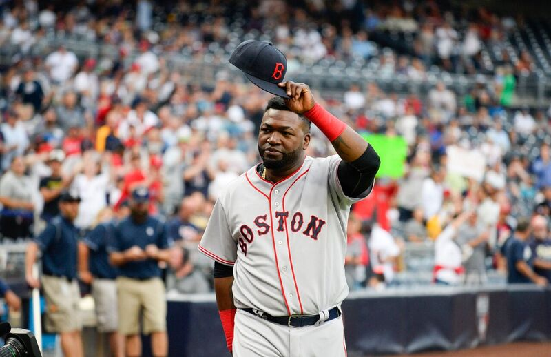 Hats off for David Ortiz during a Red Sox match | Source: Getty Images/GlobalImagesUkraine