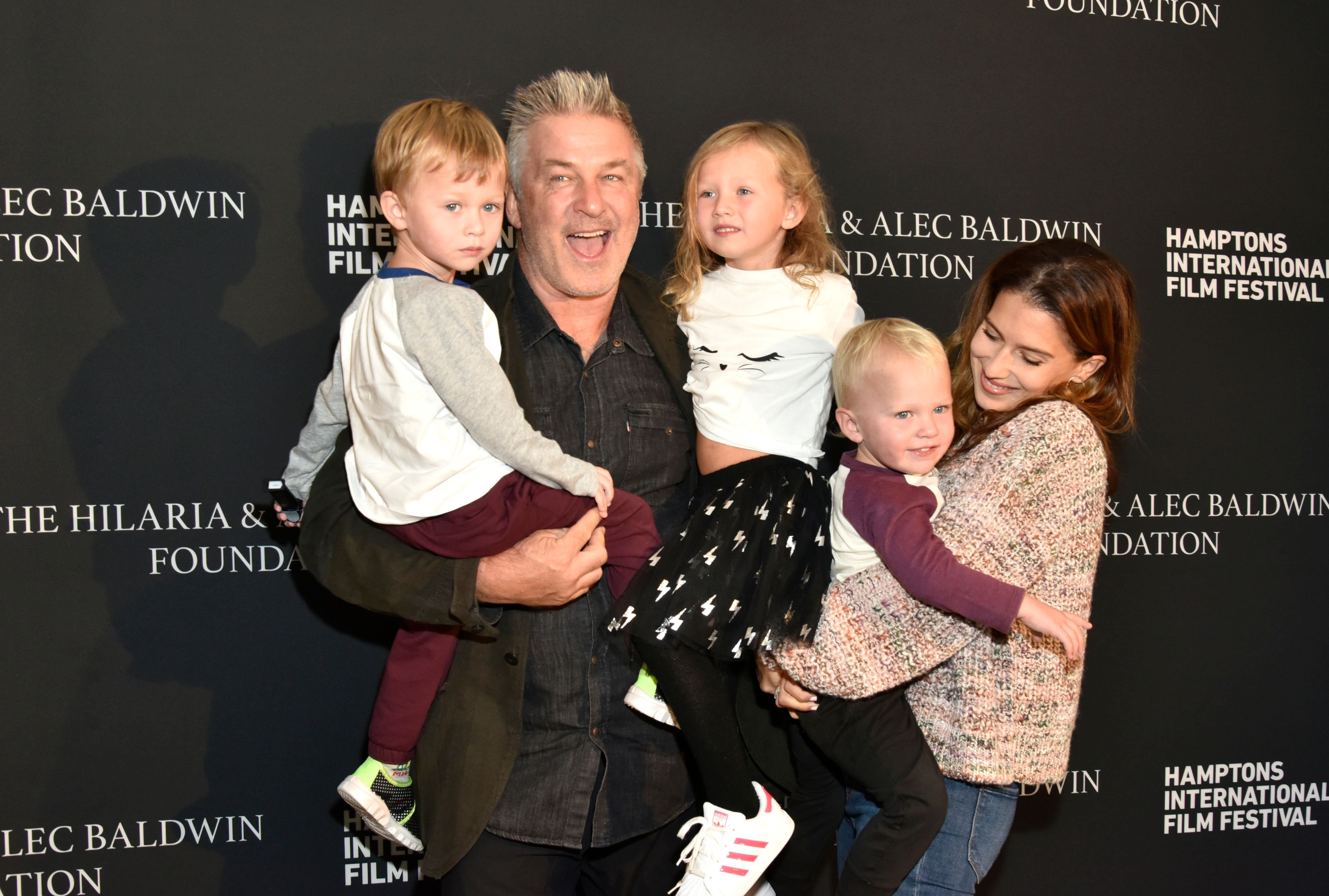 Alec Baldwin (2nd L)Hailaria Baldwin (R) and their children attend the red carpet and Chairman's Reception at Suna Residence during Hamptons International Film Festival 2018 - Day Three on October 6, 2018 in East Hampton, New York. | Source: Getty Images
