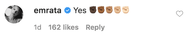Emily Ratajkowskicommented on a video of Lizzo addressing racism | Source: Instagram.com/lizzobeeating