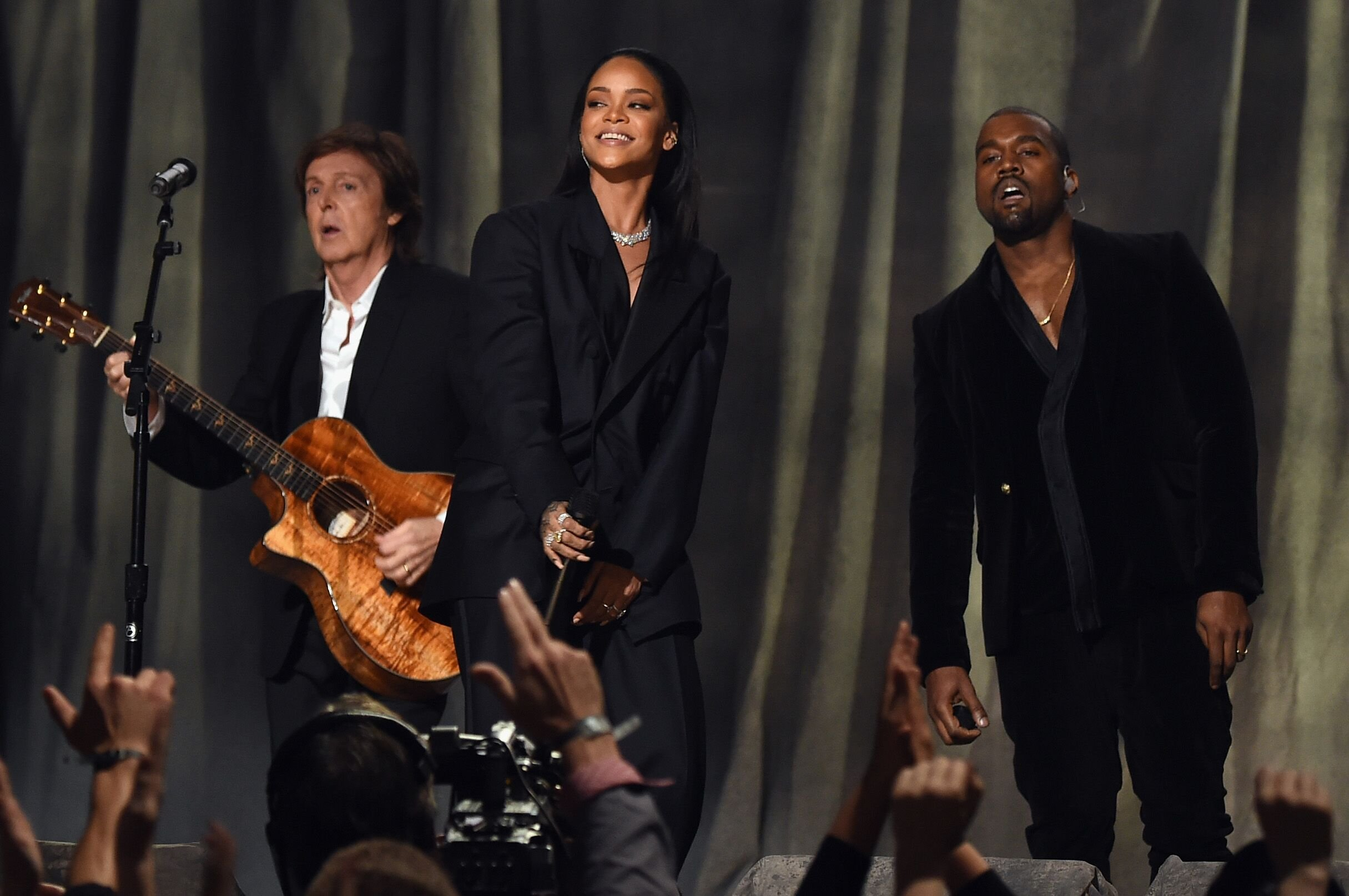 """Paul McCartney, Rihanna and Kanye West performing their collaboration """"FourFiveSeconds"""" 