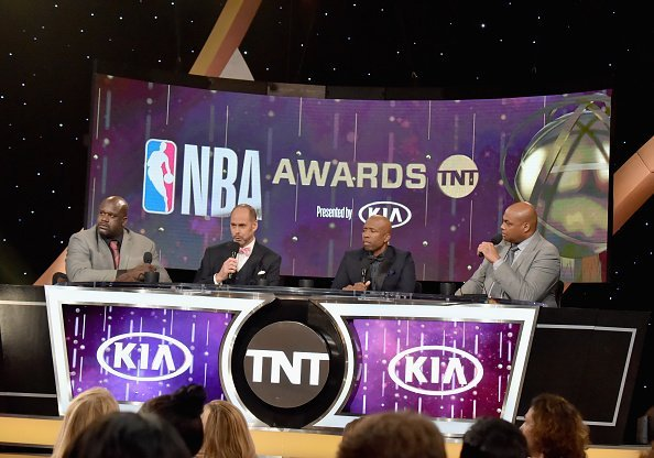 Shaquille O'Neal, Ernie Johnson Jr., Kenny Smith, and Charles Barkley speak onstage at the 2018 NBA Awards at Barkar Hangar on June 25, 2018 in Santa Monica, California   Photo: Getty Images