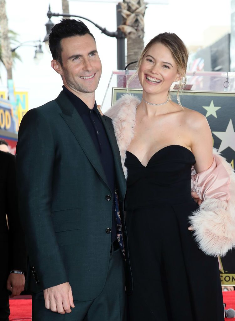 Adam Levine and Behati Prinsloo attend his being honored with a Star on the Hollywood Walk of Fame. | Source: Getty Images