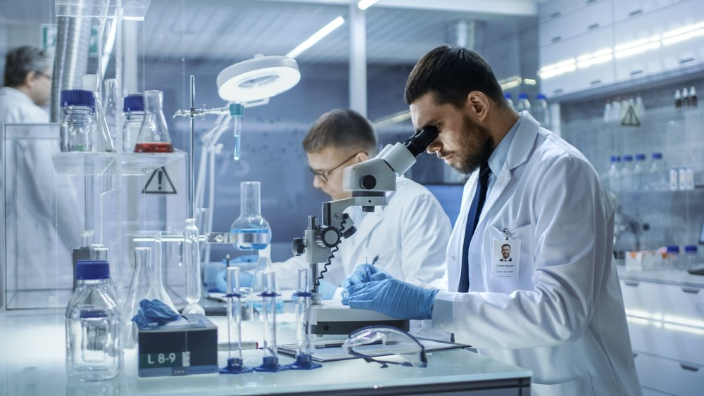 In a Modern Laboratory Two Scientists Conduct Experiments. Chief Research Scientist Adjusts Specimen in a Petri Dish and Looks on it Into Microscope | Shutterstock