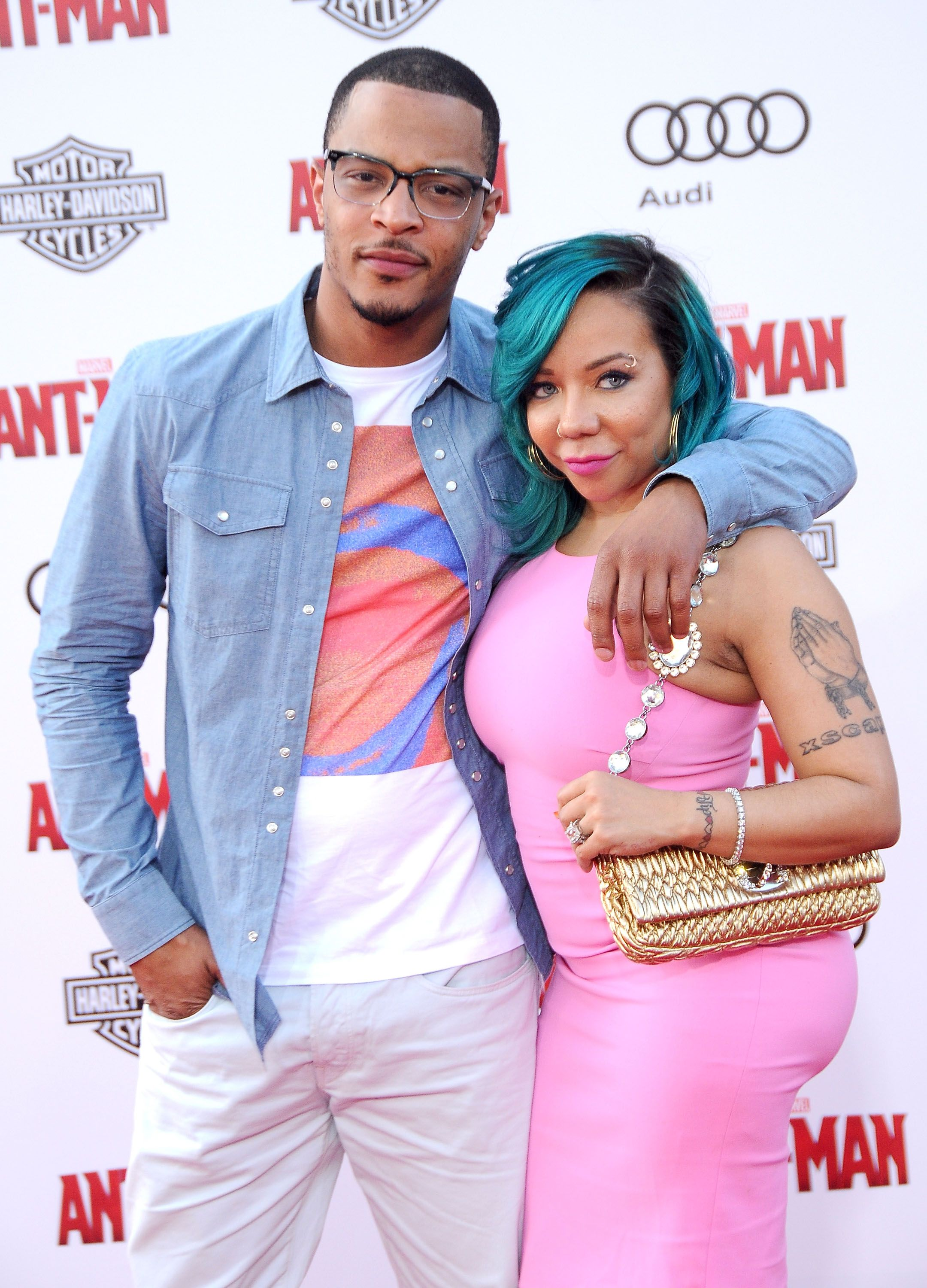 "Power couple Tameka ""Tiny"" Harris and rapper-actor T.I. attend the 2015 premiere of the Marvel movie ""Ant-Man"" in Hollywood, California. 
