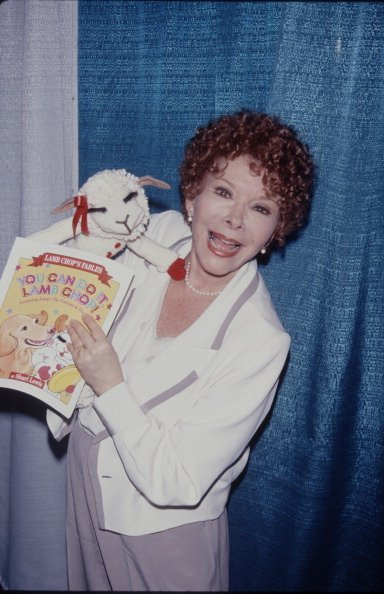 "Shari Lewis holding her favorite puppet ""Lamb Chop"" 