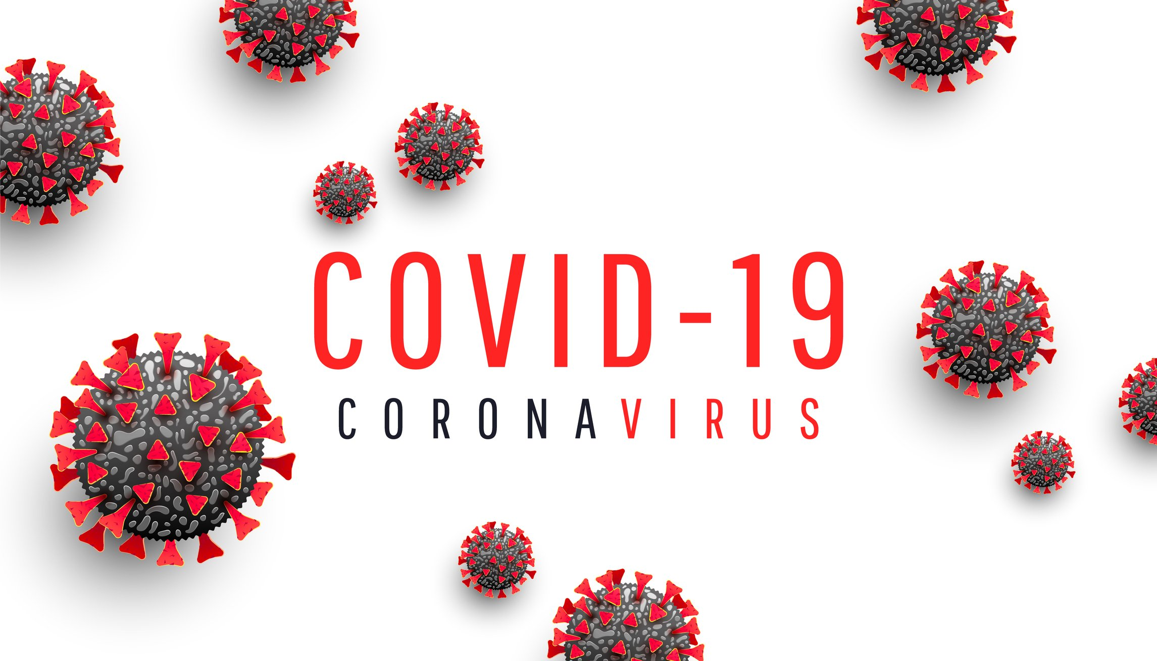 Horizontal vector illustration of Coronavirus disease COVID-19 medical web banner with SARS-CoV-2 virus molecule and text on a white background.  | Photo: Getty Images
