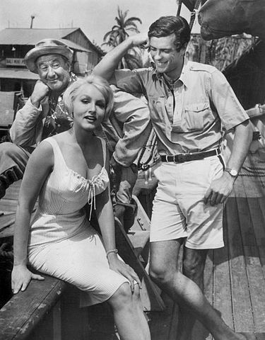 "George Tobias, Julie Newmar and Gardner McKay from the television series ""Adventures in Paradise"" in 1960. 