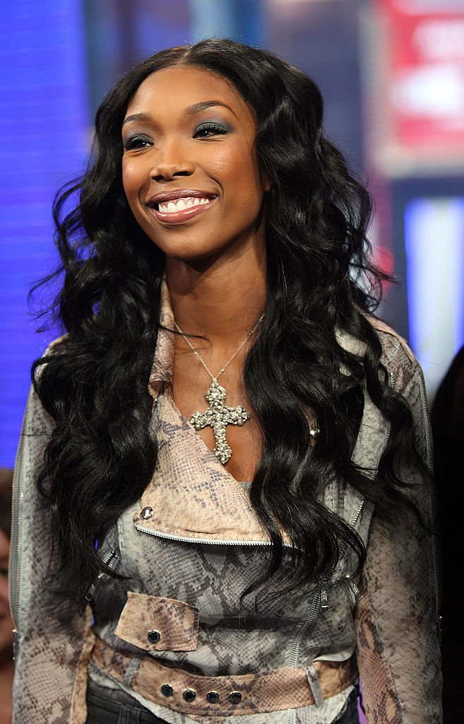 "Brandy at a 2008 TV guesting on MTV's ""Total Request Live"" at the MTV Time Square Studios in New York City. 