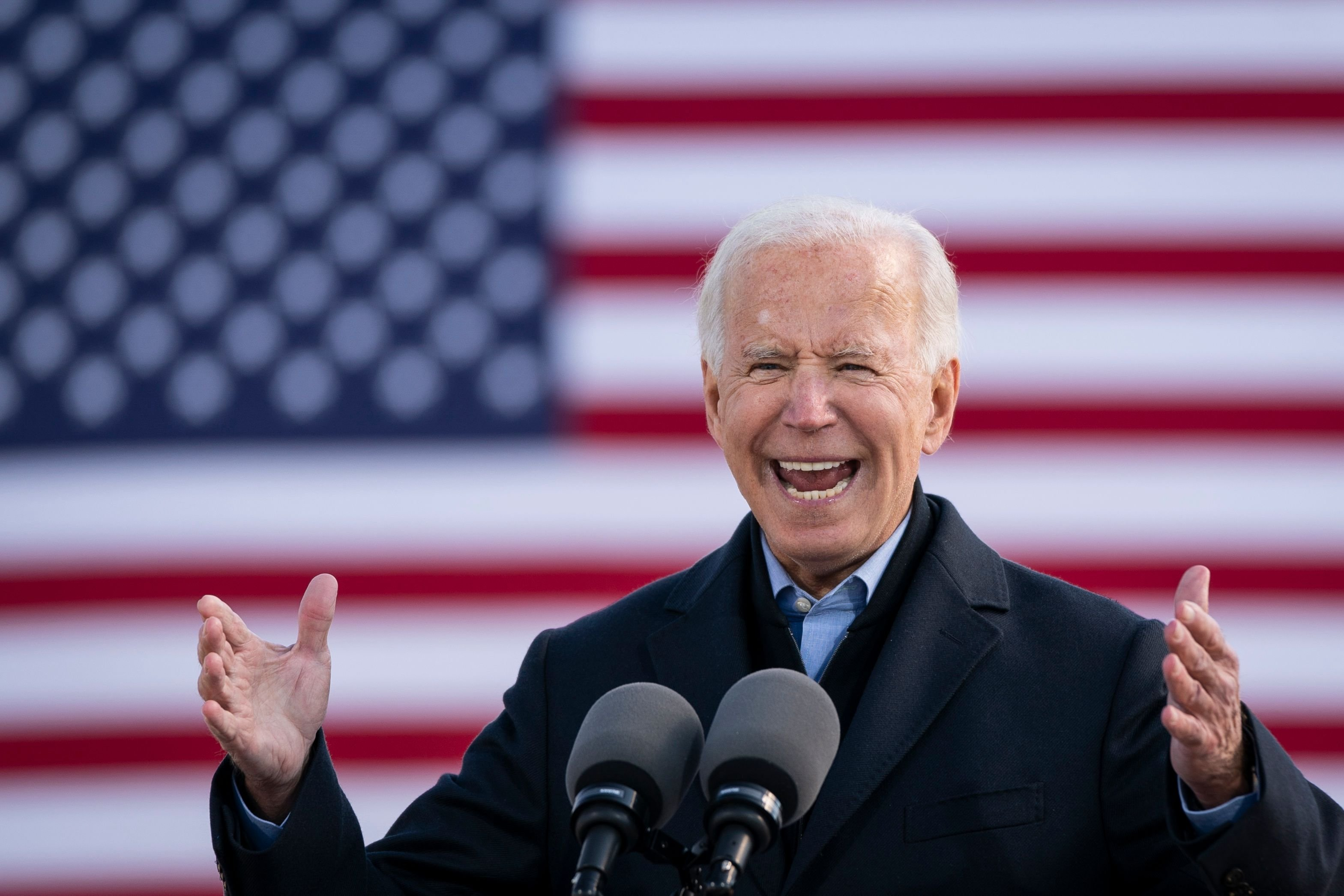 Joe Biden speaks during a drive-in campaign rally at the Iowa State Fairgrounds on October 30, 2020 | Getty Images