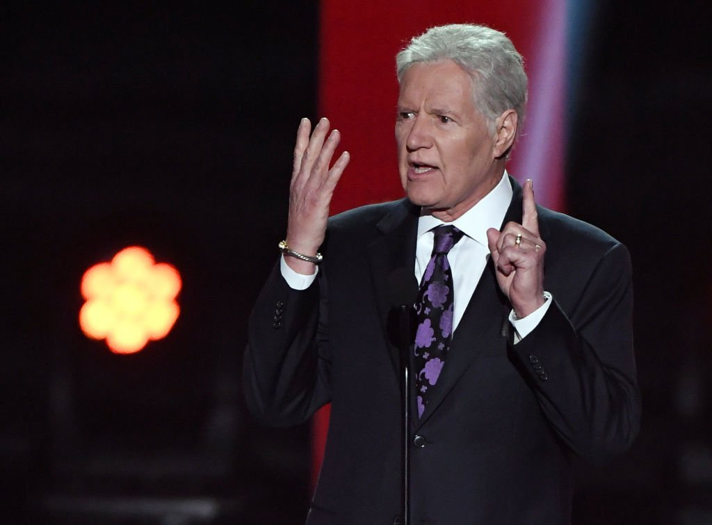 """""""Jeopardy!"""" host Alex Trebek presents the Hart Memorial Trophy during the 2019 NHL Awards at the Mandalay Bay Events Center 