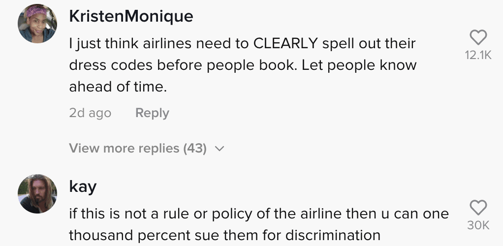 Commenters react to a video of a woman who was allegedly taken off of a plane because of her attire   Photo: TikTok/fattrophywife