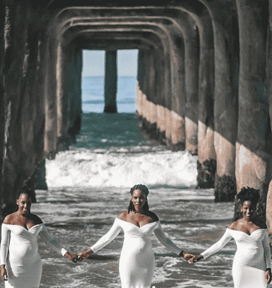 A viral maternity shoot of three Nigerian sisters who got pregnant at the same time | Photo: Instagram / Onyees Lifestyle