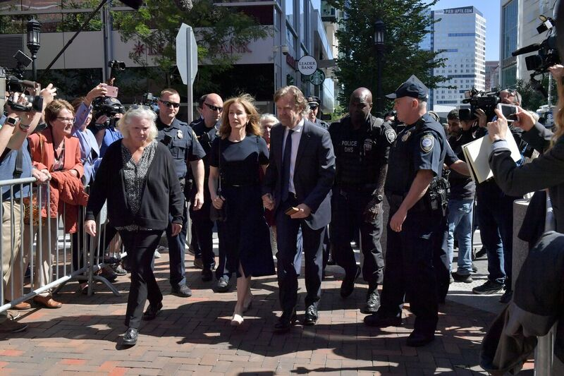 Felicity Huffman being escorted to the court room | Source: Getty Images/GlobalImagesUkraine
