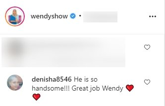 Fan's comment under a picture of Wendy Williams and her son, Kevin Hunter Jr., posted on the TV host's Instagram page   Photo: Instagram.com/wendyshow
