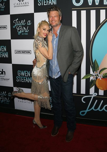 "Gwen Stefani (L) and recording artist Blake Shelton attend the grand opening of the ""Gwen Stefani - Just a Girl"" residency at Planet Hollywood Resort & Casino in Las Vegas, Nevada 