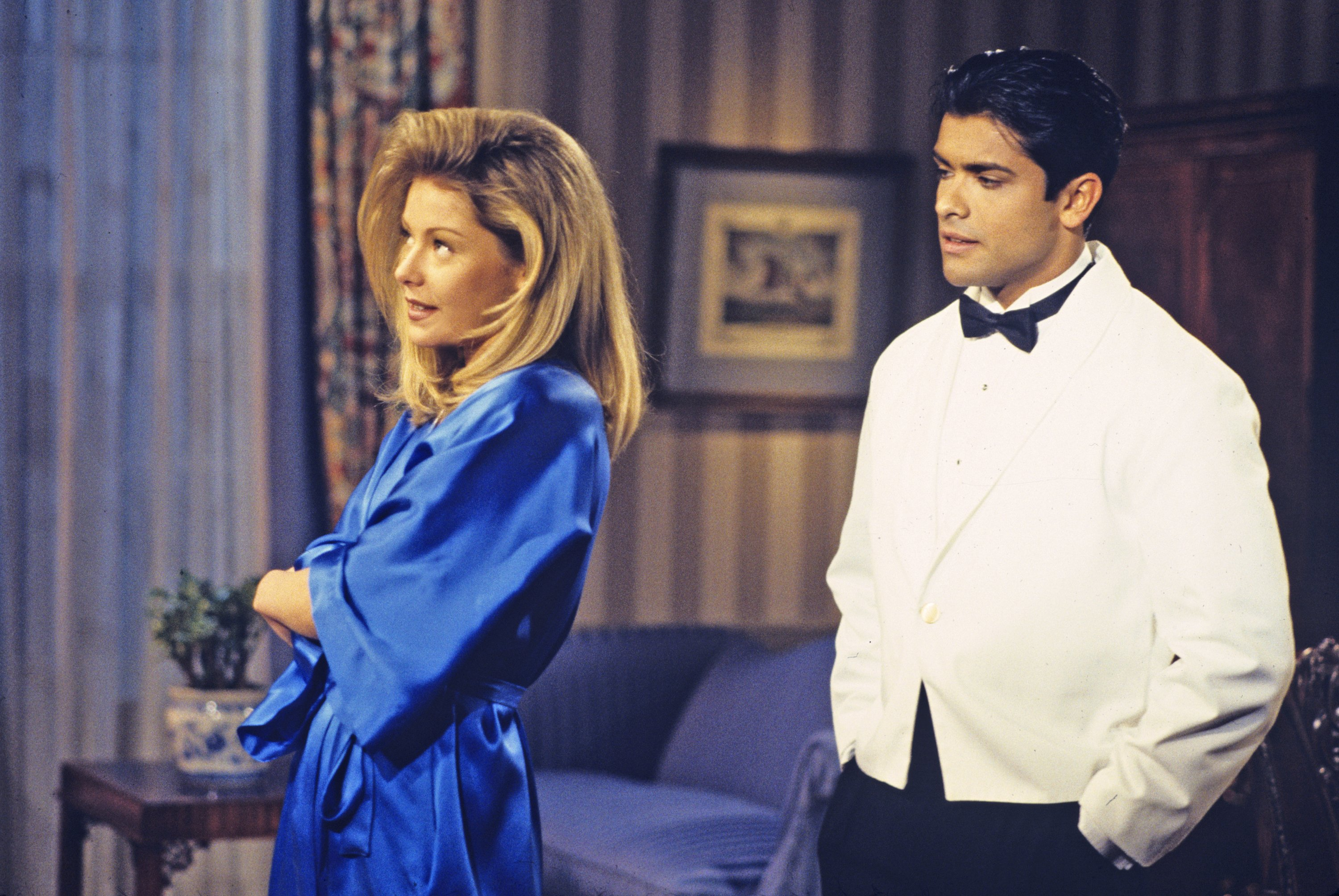"""Kelly Ripa (Hayley) and Mark Consuelos (Mateo) in a scene on Walt Disney Television via Getty Images Daytime's """"All My Children"""", in 1995. 