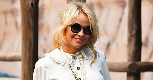Pamela Anderson, 53, Puts Shapely Derriere on Display in a Racy Gold Mini Dress