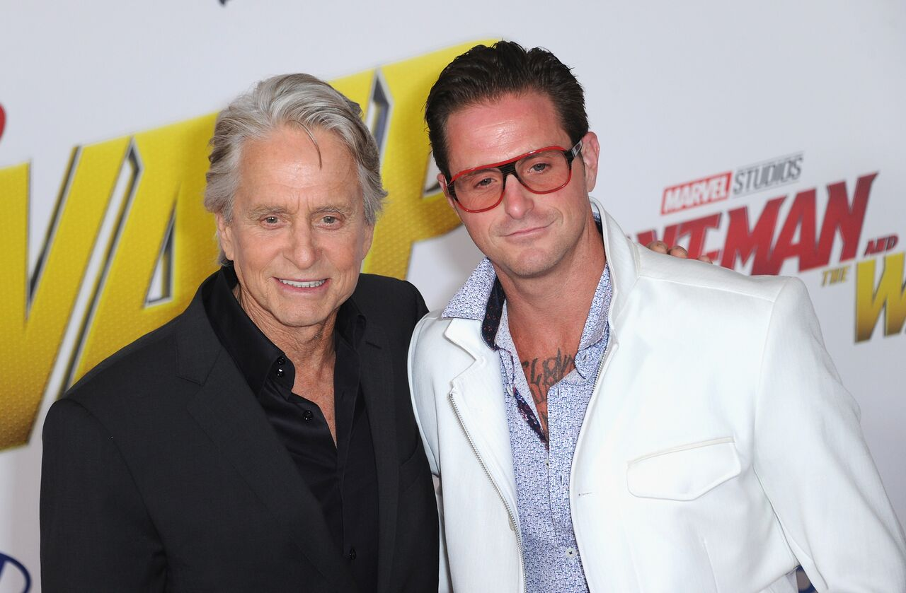 """Michael Douglas and son Cameron Douglas arrive for the Premiere Of Disney And Marvel's """"Ant-Man And The Wasp."""" 