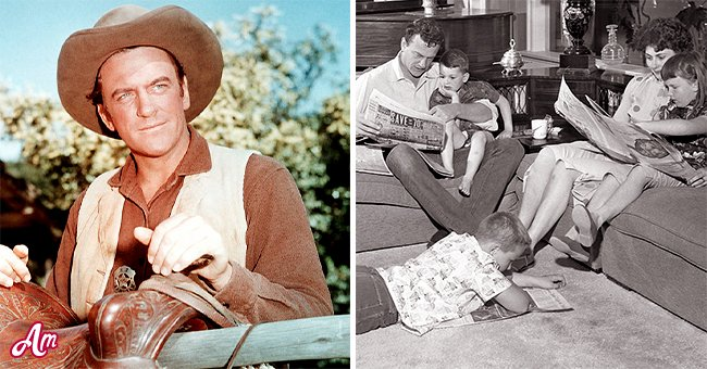 """James Arness on a scene from """"Gunsmoke"""" and together with his kids.   Source: Getty Images"""