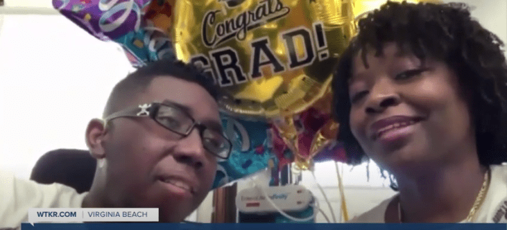 Dante Herrera with his mother during the interview   Source: YouTube/WTKRNews