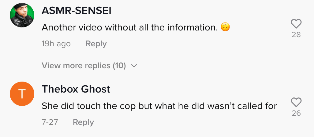 Comment section of viral TikTok video where woman claims police arrested her friends for no reason | Photo: TikTok/dj.merr