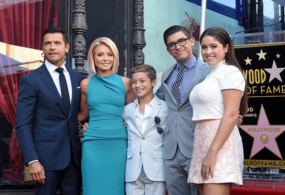 Kelly Ripa, Mark Consuelos, Lola Consuelos, Michael Consuelos and Joaquin Consuelos attend the Hollywood Walk off Fame ceremony for Kelly Ripa on October 12, 2015, in Hollywood, California | Source: Getty Images