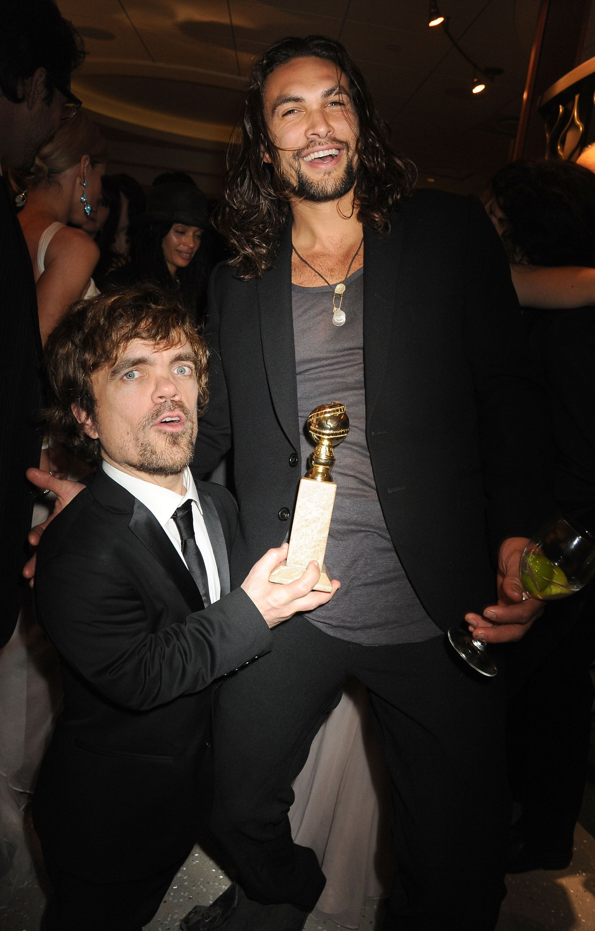 Peter Dinklage and Jason Momoa at the HBO's Official After Party for the 69th Annual Golden Globe Awards in 2012 in Beverly Hills, California   Source: Getty Images